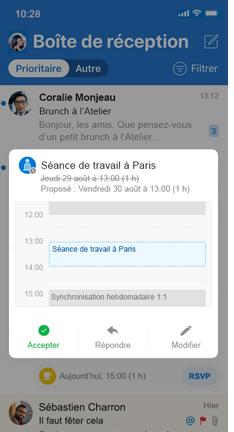 Invitation de calendrier avec le bouton vert Accepter