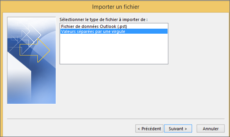 Assistant Exportation d'Outlook - Choisir un fichier CSV