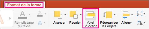 Onglet Format de la forme dans PowerPoint2016 pour Mac