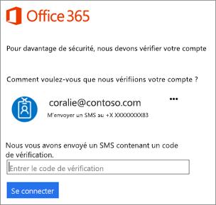 Lorsque vous vous connectez avec une vérification en deux étapes, vous êtes invité à entrer un code.