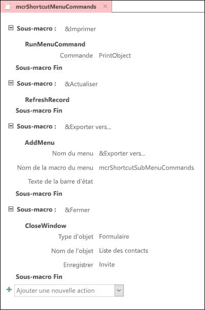 Capture d'écran d'une macro Access avec quatre sous-macros