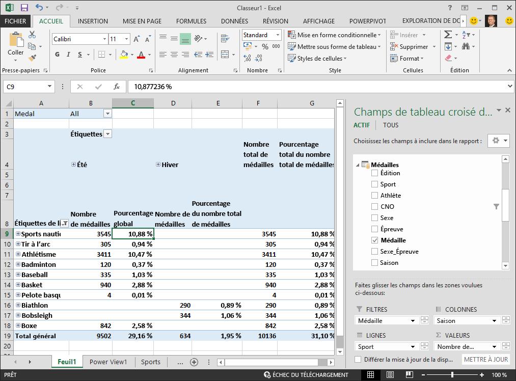 Le tableau croisé dynamique affiche des données de pourcentage