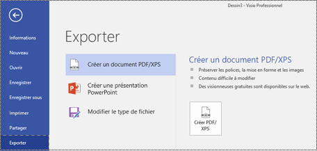 Option Exporter au format PDF de l'onglet Fichier de Visio.