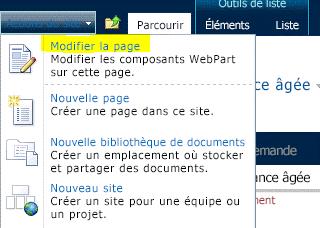 Commande Modifier la page du menu Actions du site
