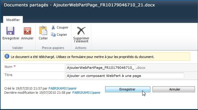 Ajouter un composant WebPart
