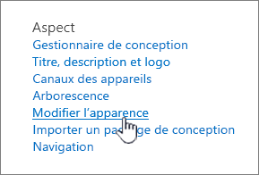 Section d'aspect de paramètres de site avec modifier l'apparence mis en surbrillance