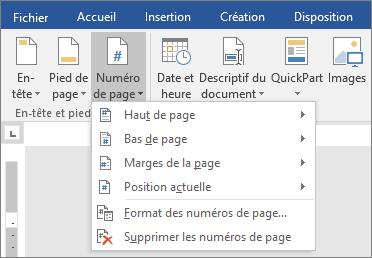 Les options de numéro de page apparaissent dans une liste.