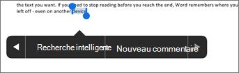 Appuyez sur Nouveau commentaire après avoir sélectionné du texte dans Word