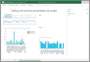 Le classeur Tableau de bord de la vue d'ensemble du projet donne des informations générales sur les tâches de vos projets