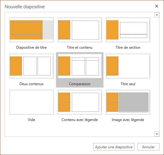 La boîte de dialogue Nouvelle diapositive dans PowerPoint Online propose plusieurs mises en page des diapositives