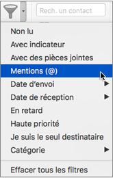 Utiliser Mentionné dans le menu Filtre de courrier pour rechercher des e-mails dans lesquels vous êtes @mentionné