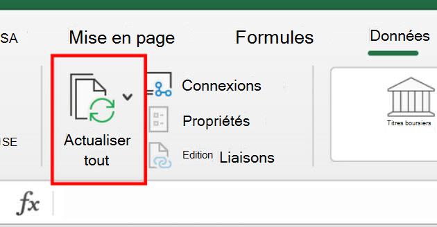 Commande Resfresh tout du ruban dans Excel pour Mac