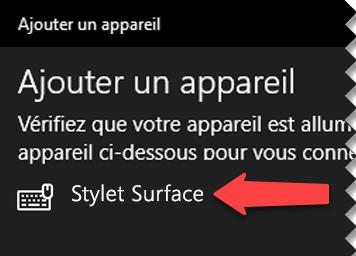 Sélectionnez le stylet numérique pour indiquer à Windows que vous souhaitez le connecter à votre ordinateur via la fonctionnalité Bluetooth