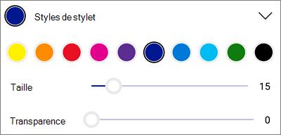 Styles de stylos de balisage de OneDrive pour Android
