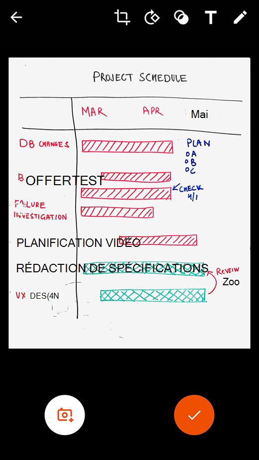 Options de révision et de modification dans Office Lens pour Android