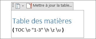 Code de champ de table des matières