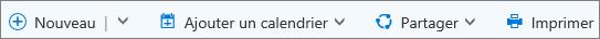 Barre de commandes pour le calendrier dans Outlook.com