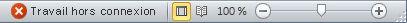 Barre d'état d'Outlook avec l'état Travail hors connexion