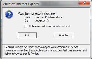 Boîte de message permettant de maintenir l'extraction d'un fichier dans le dossiers Brouillons local