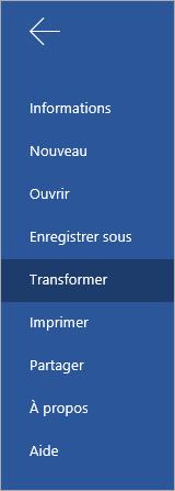Bouton Transformer permettant de convertir des documents Word Online en Sway