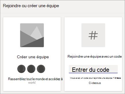 Entrer un code d'équipe dans la vignette rejoindre une équipe à l'aide d'un code