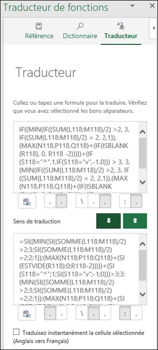 Traducteur de fonctions - Volet Traducteur avec une fonction convertie de l'anglais vers le français