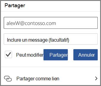 Affichage partage par courrier électronique, entrez la messagerie et à cocher peut modifier