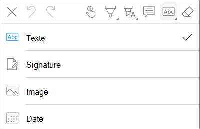 Menu texte de balisage PDF OneDrive pour iOS