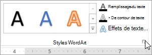 Sélectionnez le Lanceur de boîte de dialogue Styles WordArt
