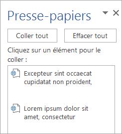 Affiche le volet Office Presse-papiers avec le contenu copié