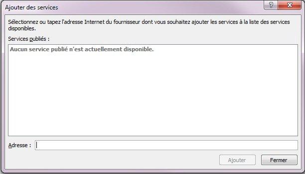Capture d'écran de la boîte de dialogue Ajouter des services incluse dans les options de recherche