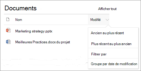 Document bibliothèque web composant affichant trier, filtrer et menu du groupe