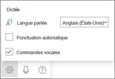 Image de la barre d'outils de dictée avec les paramètres mis en surbrillance.