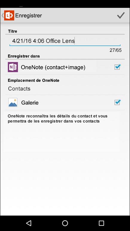 Capture d'écran de la fonctionnalité d'exportation de contacts dans Office Lens pour Android.