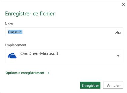 Boîte de dialogue Enregistrer dans Microsoft Excel pour Office 365