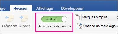 Option Activer le suivi des modifications mise en évidence