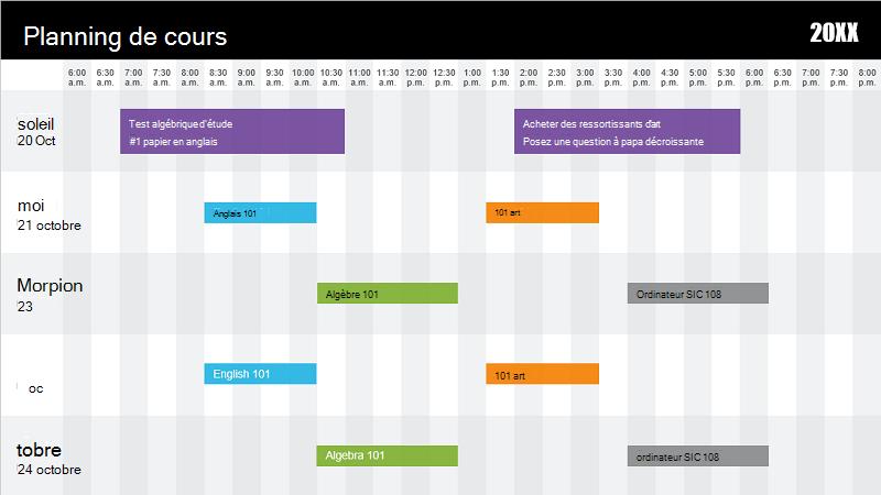 Capture d'écran d'un modèle d'emploi du temps