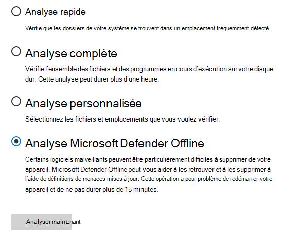 Boîte de dialogue Options de numérisation affichant l'option analyse Microsoft Defender hors connexion sélectionnée