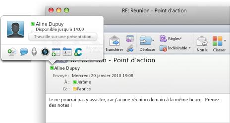 Message instantané lancé depuis Outlook