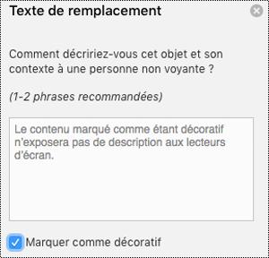 Case à cocher marquer comme décoratif sélectionnée dans le volet texte de remplacement d'Excel pour Mac