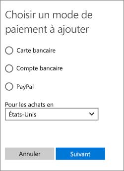 Menu Choisir une option de paiement affichant les options disponibles pour les États-Unis