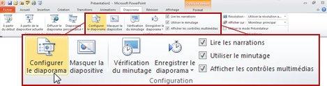 Groupe Configuration sous l'onglet Diaporama dans le ruban PowerPoint2010