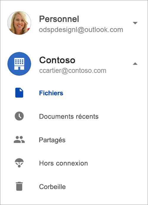 OneDrive pour les entreprises.