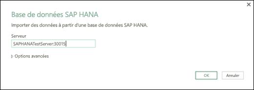 Boîte de dialogue base de données SAP HANA