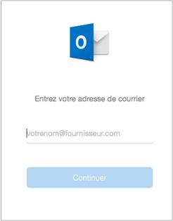 Le premier écran qui s'affiche vous invite à entrer votre adresse de courrier