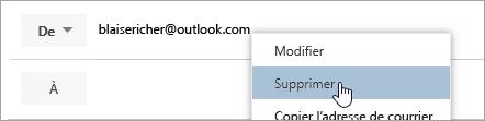 Capture d'écran de l'option Supprimer