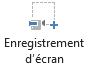 Le bouton d'enregistrement de l'écran sous l'onglet enregistrement dans PowerPoint 2016