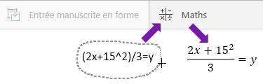 Affiche l'équation saisie, le bouton Maths et l'équation convertie