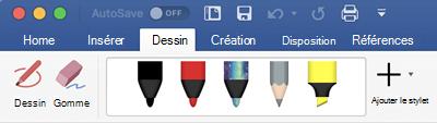 Stylos et surligneurs disponibles dans l'onglet dessin d'Office 365 pour Mac