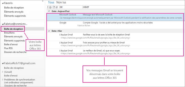 Une fois que vous avez importé du courrier dans votre boîte aux lettres Office365, il apparaît dans deux emplacements.